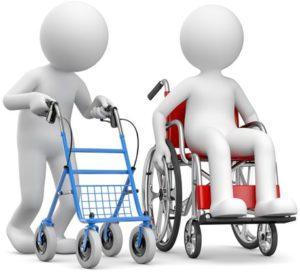 Zwei graue Figuren, eine im Rollstuhl, eine am Rollator