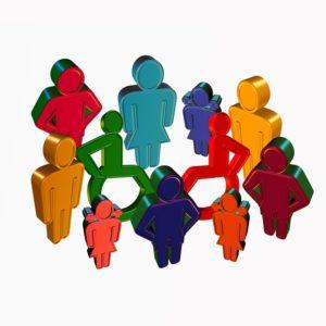 Stilisierte farbige Figuren