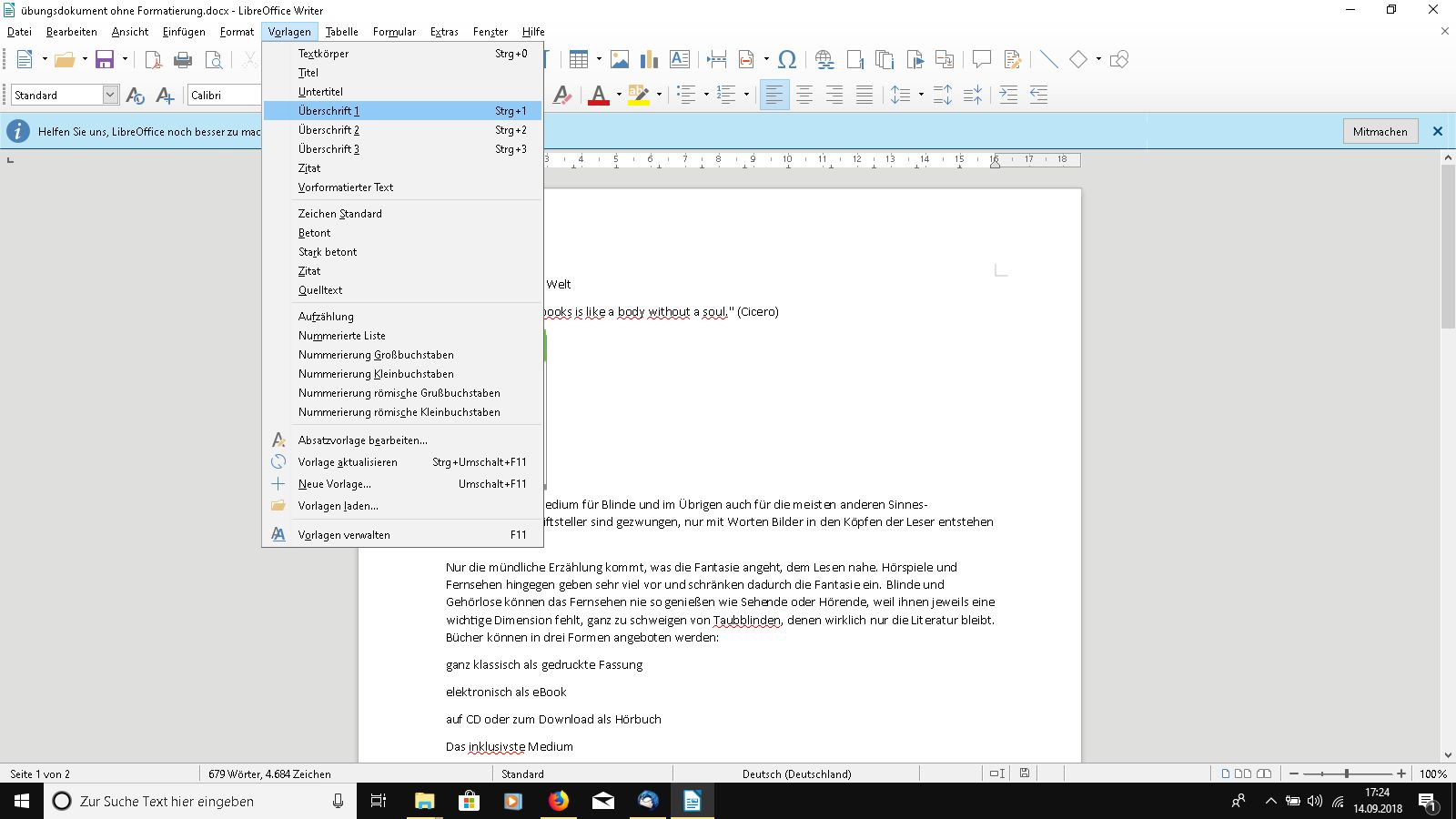 Formatvorlagen in LibreOffice