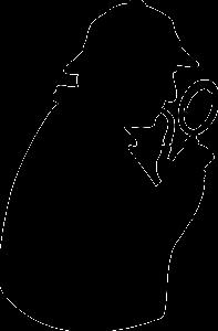 Stilisierter Sherlock Holmes mit Lupe