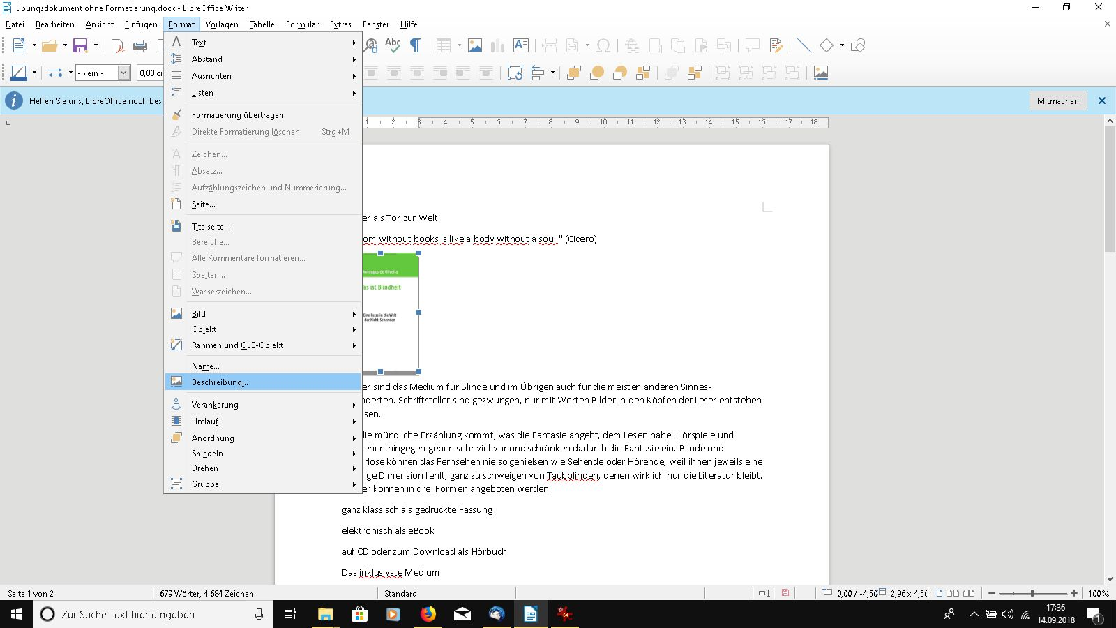Bildbeschreibung in LibreOffice