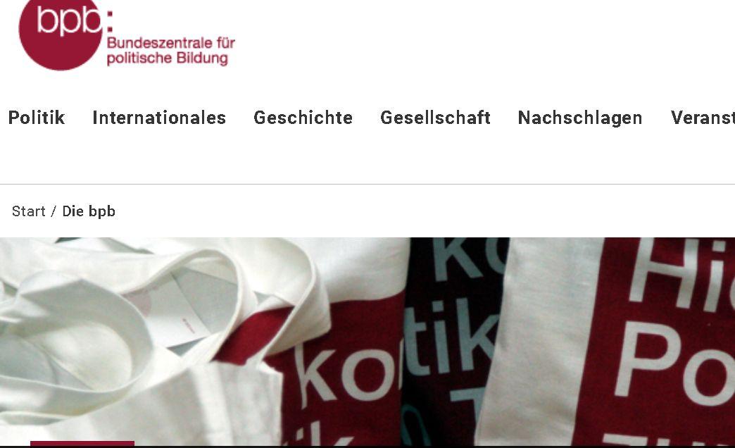 Screenshot der Website der Bundeszentrale für politische Bildung