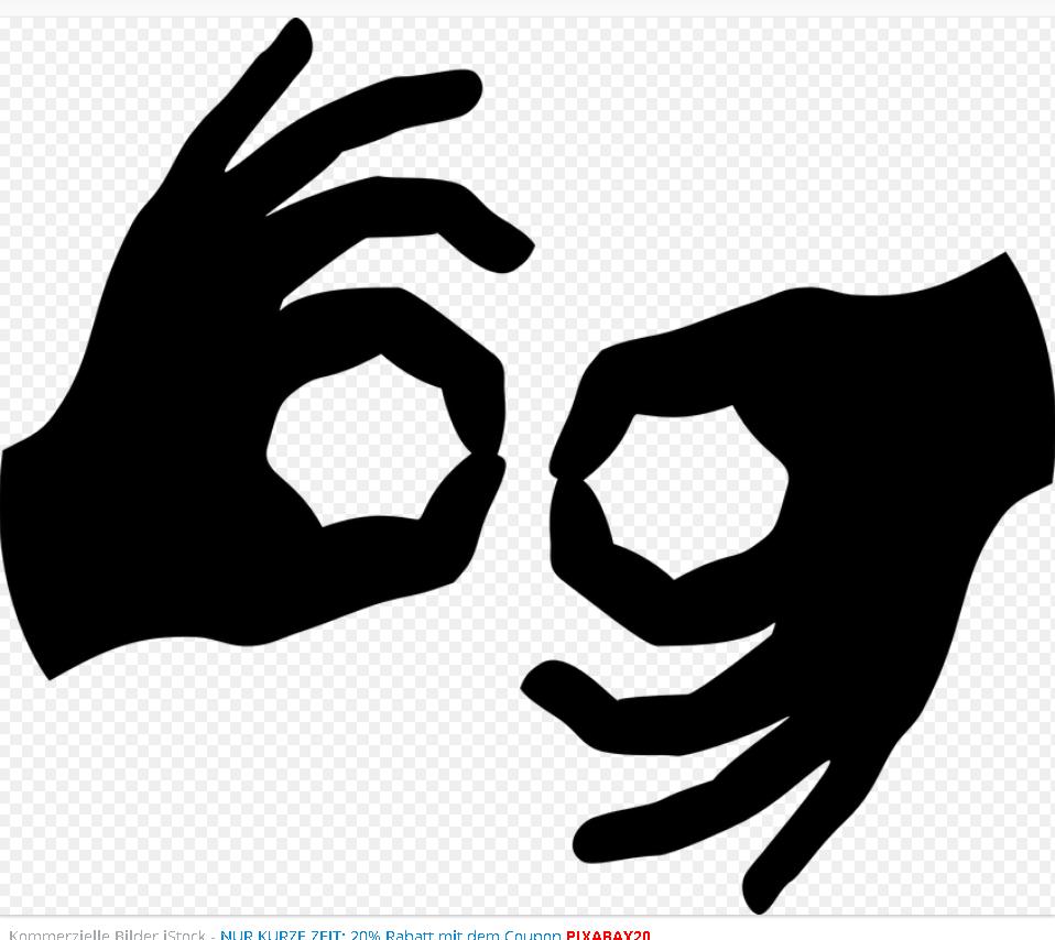 Hände zeigen Gebärdensprache