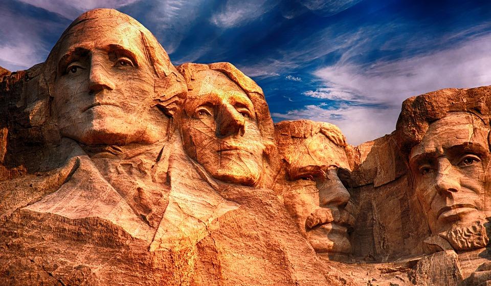 In Stein gehauene Präsidenten bei Mount Rushmore