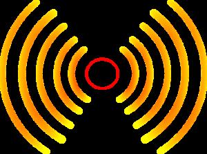 Stilisierte Radiowellen stralen nach links und rechts