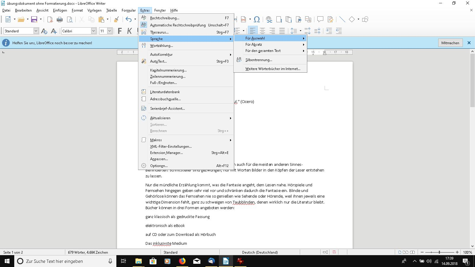 Sprache in LibreOffice