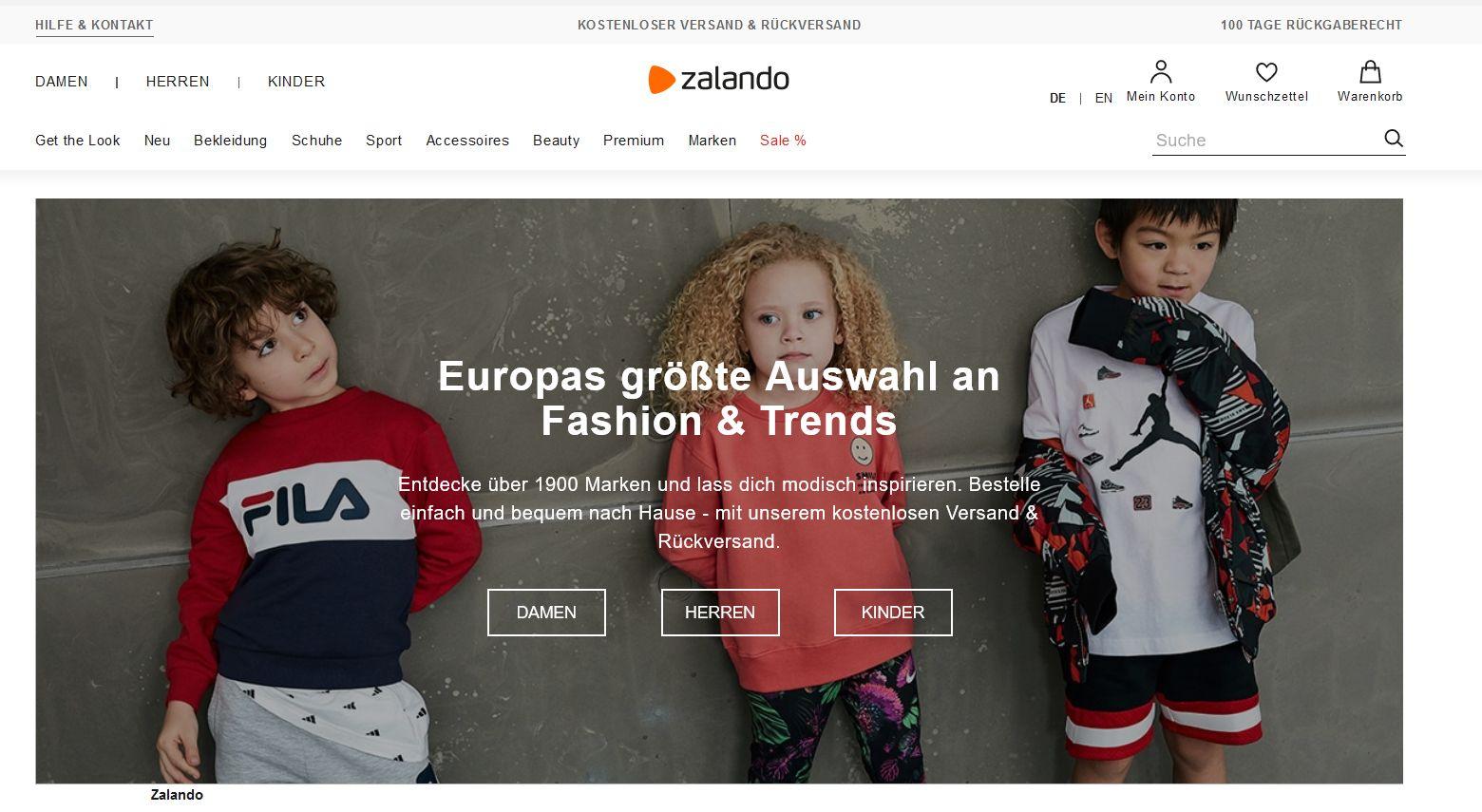 Screenshot der Zarlando-Website
